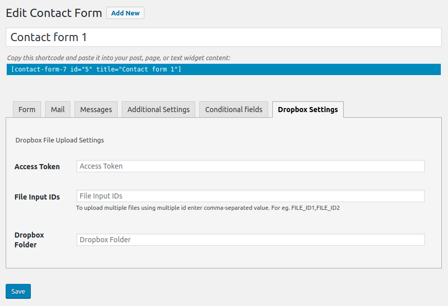 CF7 Dropbox config form